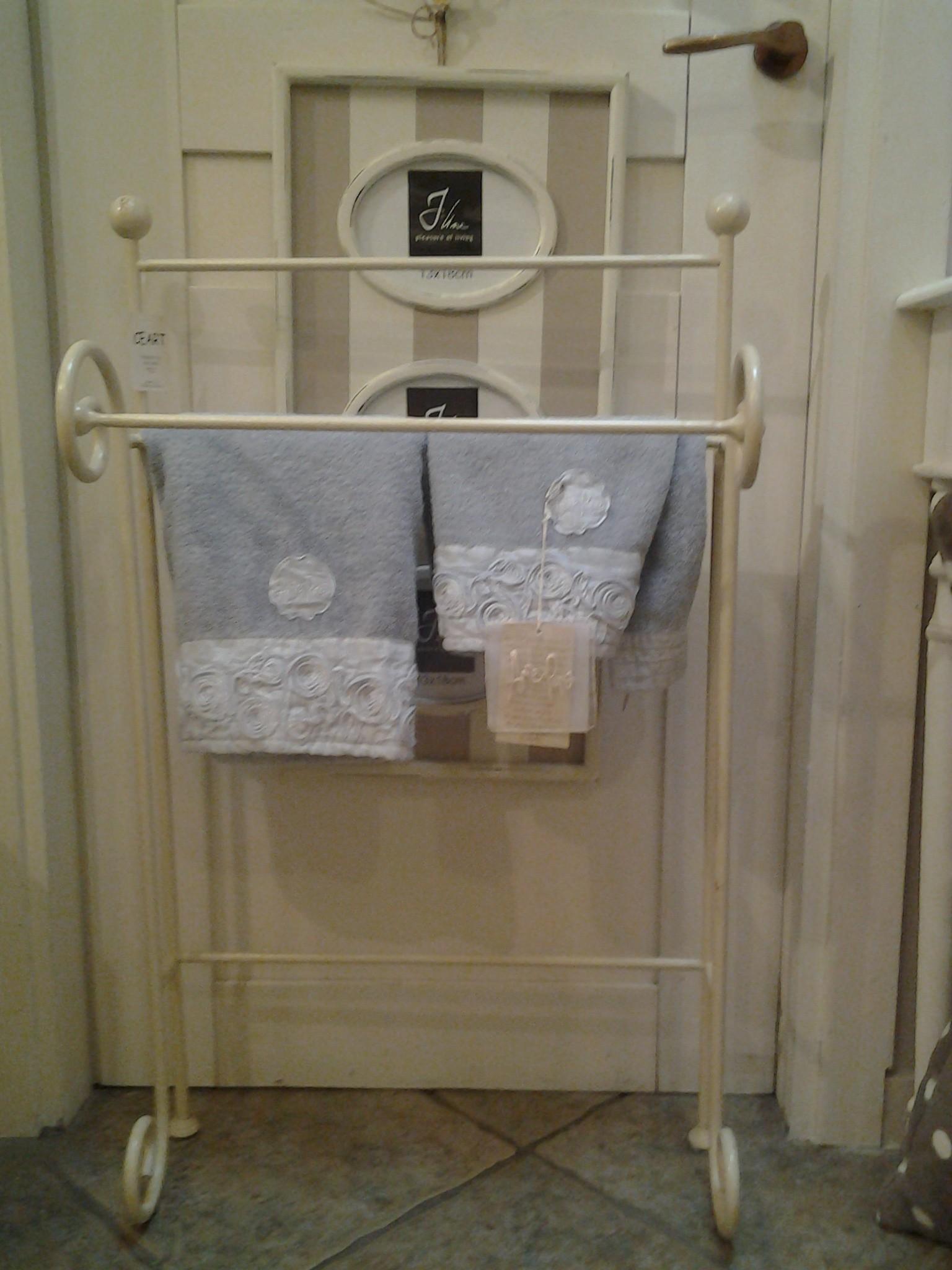 Porta Asciugamani Ferro Battuto Bianco images